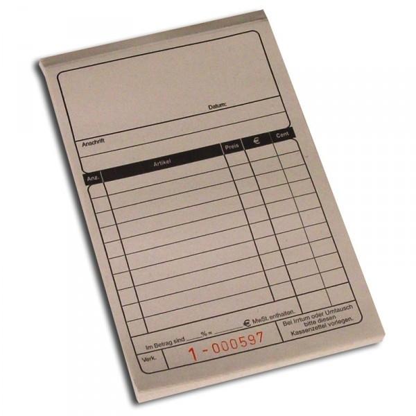 Kassenblocks (2x50 Blatt) ca. 10x15 cm - 10er Pack