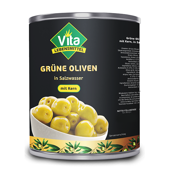 """VITA"" Oliven Grün mit Kern( 4250gr/Dose )"