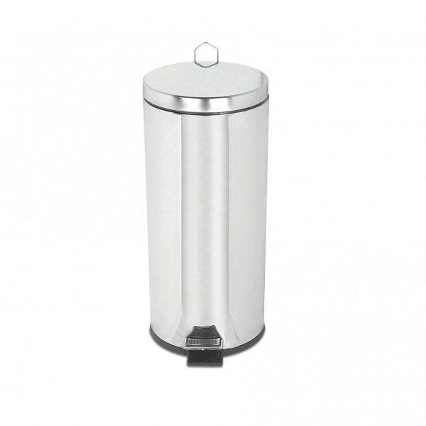 Mülleimer mit Pedal ( 30lt,Q25x60cm, Chrome)